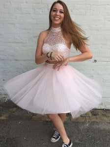 short prom dress, cheap homecoming dress, pink prom dress, two pieces prom dress, party dress for teens, BD88