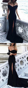 sexy black off the shoulder prom dress mermaid high slit evening dress floor length,HS051