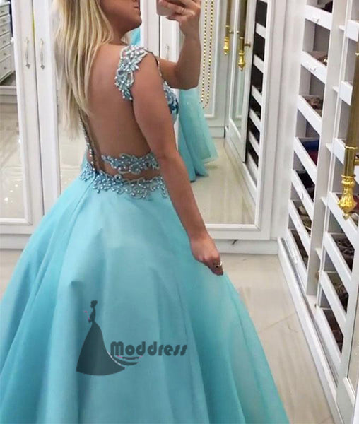 blue 2 pieces long prom dress sweetheart a-line formal evening dress,HS334