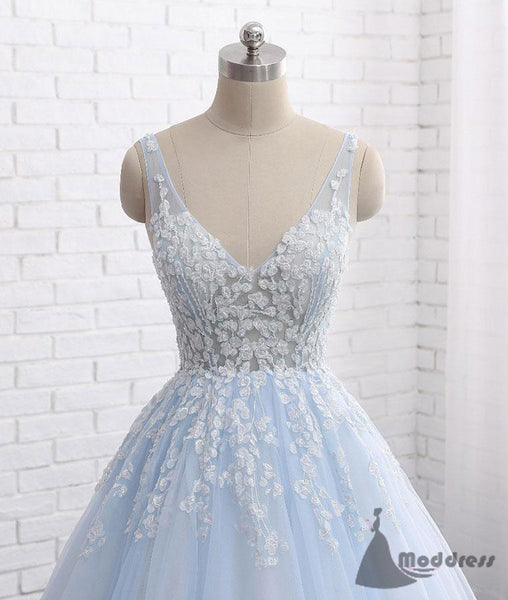 blue applique wedding dress v-neck long prom dress tulle a-line evening dress,HS376