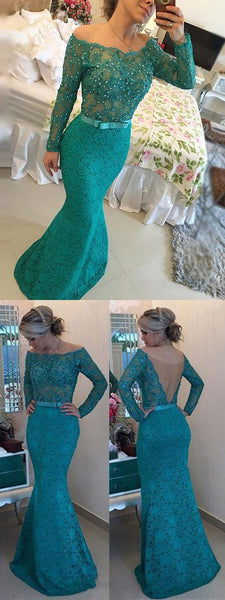 blue lace long prom dress mermaid off the shoulder long sleeve evening dress with pearl,HS201