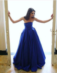 royal blue strapless A-line simple long prom dress, PD7655