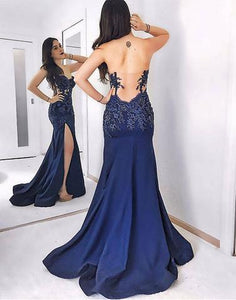 2018 formal side slit backless mermaid long prom dress, PD1366