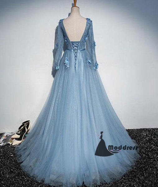 blue v-neck long prom dress flowers a-line long sleeve evening dress,HS379