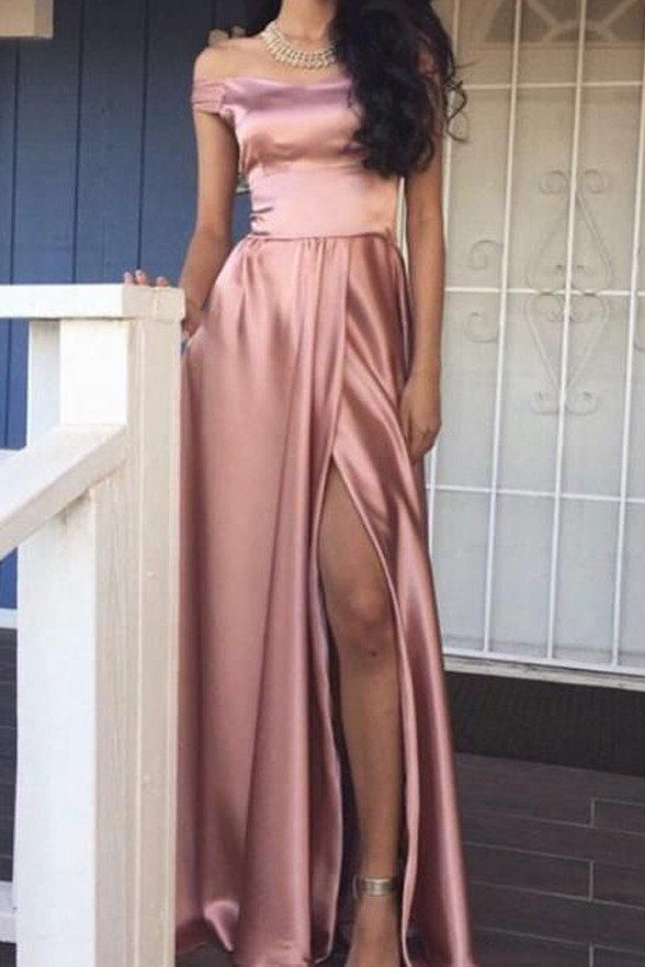 blush pink long prom dress off the shoulder satin a-line evening dress with high slit,HS283