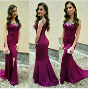 formal beaded mermaid grape side slit long evening dress, BD6446