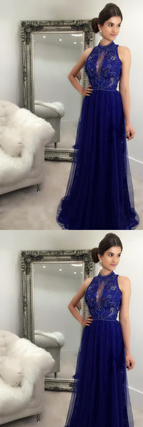 charming lace long prom dress high neck a-line formal evening dress with beading,HS306