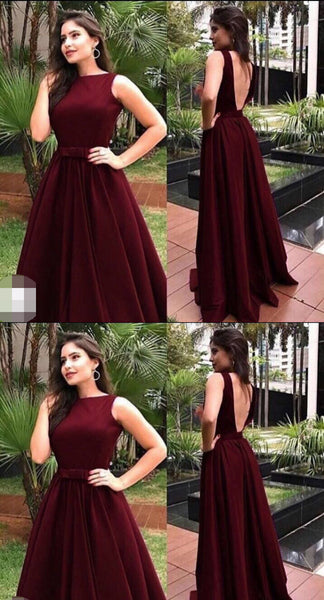 charming long prom dress backless a-line satin formal evening dress,HS302