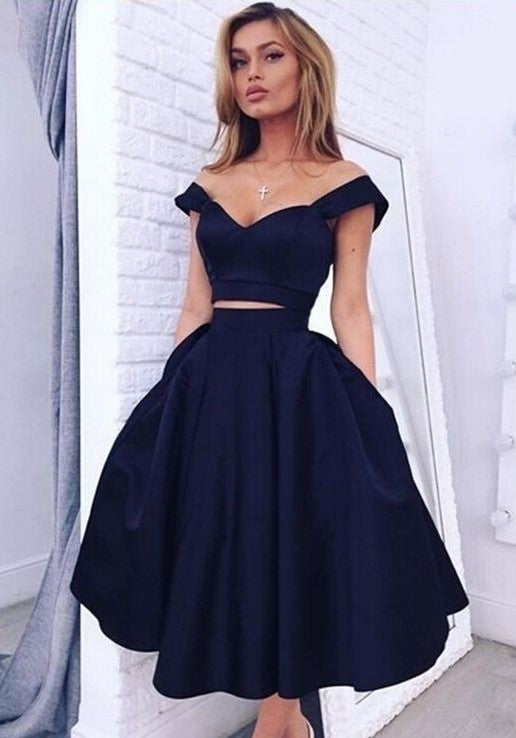 chic 2 pieces homecoming dress off the shoulder a-line satin knee length prom dress,HS241