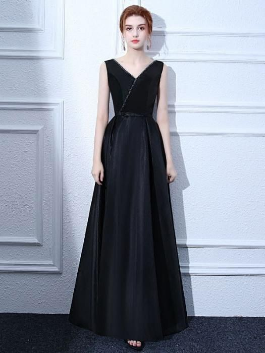 chic long prom dress a-line v-neck black sleeveless satin evening dress,HS276