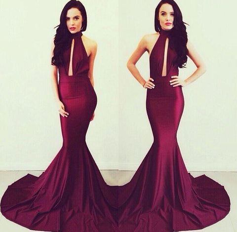 formal high neck mermaid long evening dress, BD6447