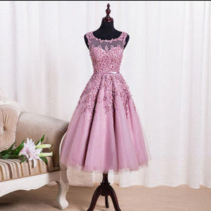 pink tea-length lace appliques short homecoming dress, HD156