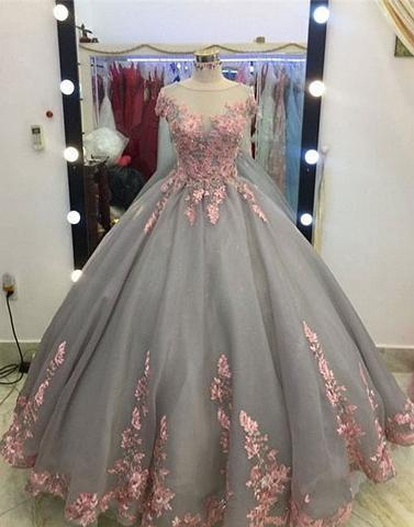 short sleeves A-line gray tulle flower appliques long prom dress, PD2577