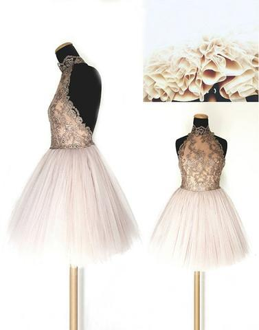 white A-line halter tulle cute short homecoming dress, HD855