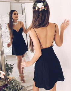 black v neck spaghetti straps chiffon short homecoming dress, HD394