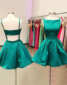 green short satin cheap junior cheap simple homecoming dress, BD3887