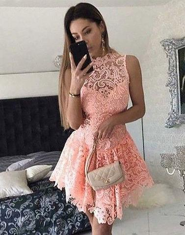 lace scoop short junior 2017 cheap charming homecoming dress, BD3890
