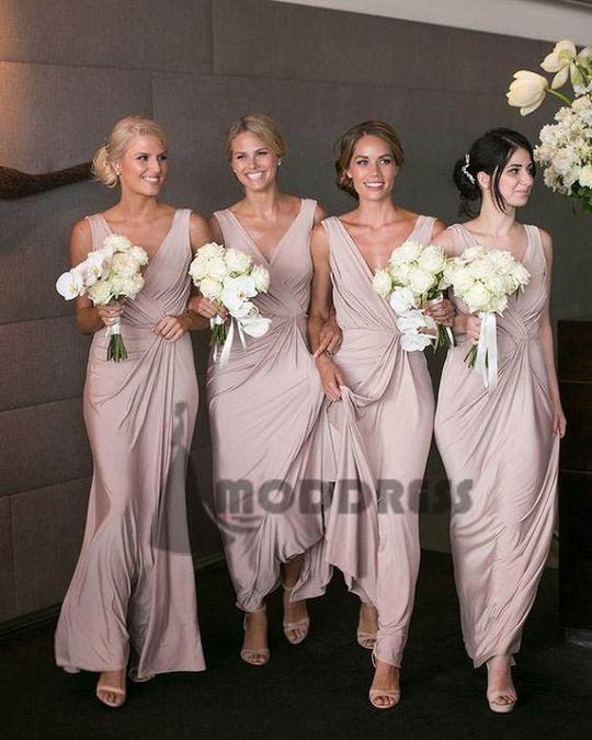 dusty pink v-neck long Bridesmaid Dresses Wedding Party Dresses