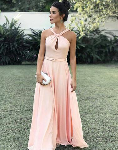 elegant halter pink chiffon A-line long prom dress, PD3326