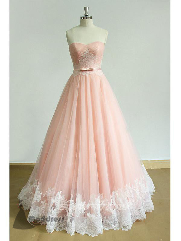 elegant long prom dress sweetheart applique a-line pink evening dress,HS369