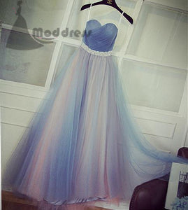 elegant strapless long prom dress blue bridesmaid dress sweetheart tulle evening dress,HS353