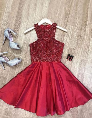 Cute beaded short prom dress, homecoming dress, PD1909