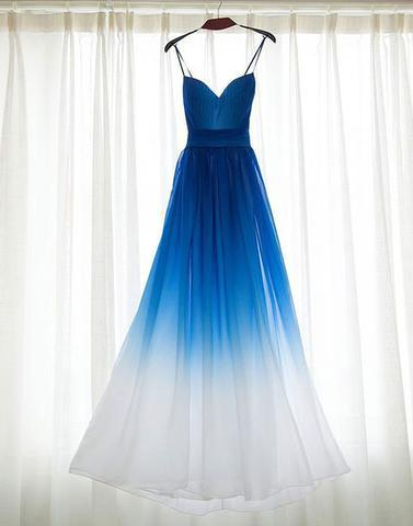 blue Gradient spaghetti straps chiffon long prom dress, PD9982