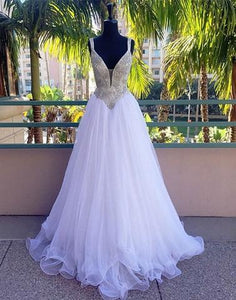 beaded A-line white v-neck tulle long formal prom dress, PD5227