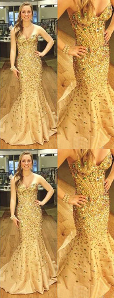 gold prom dress, long prom dress, mermaid prom dress, sweetheart prom dress, beaded evening dress