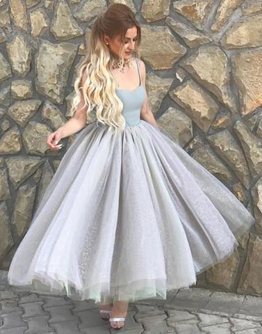 Spaghetti straps A-line tulle light grey tea-length party dress, PD1374