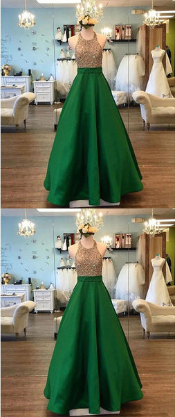 green evening dress,satin prom dress,ball gowns prom dress,prom dress