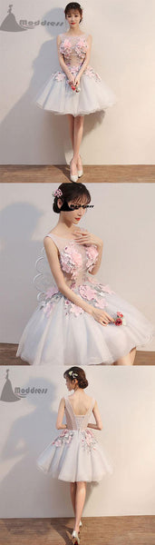 grey applique short prom dress scoop flower tulle homecoming dress,HS340