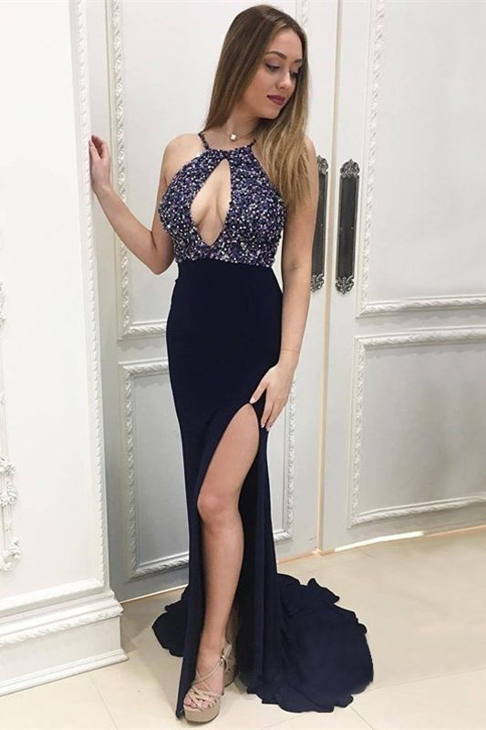 halter long prom dresses unique keyhole mermaid beading evening dresses with high slit,HS272