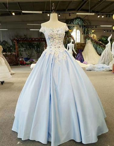 off shoulder light blue A-line long ball gown, PD8371