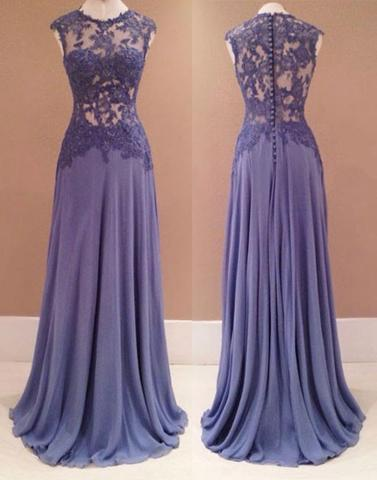 purple chiffon long lace see through top 2017 cheap prom dress, PD1466