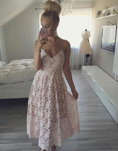 light pink lace tea-length party prom dress, PD9983