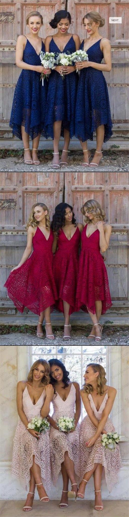 2018 lace bridesmaid dress royal blue/red/pink prom dress knee length custom made,HS094