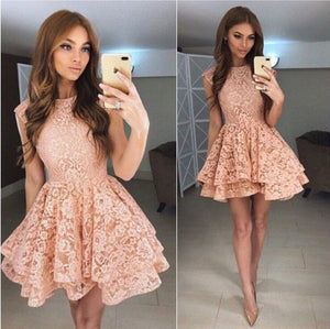 lace homecoming dress sleeveless short prom dress short cocktail dress,HS231