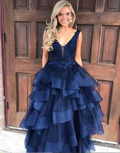 2017 A-line v-neck long prom dress, PD7675