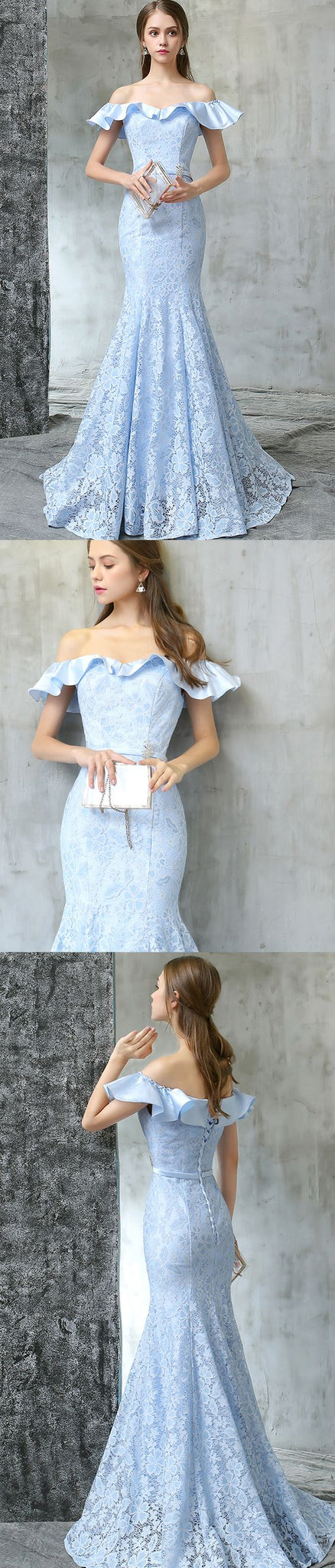 off the shoulder prom dress mermaid lace evening dress sky blue prom gowns cocktail dress,HS076