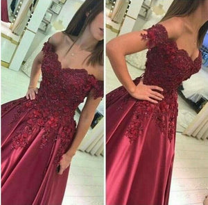 off the shoulder prom dress beaded applique a-line satin long evening dress,HS244