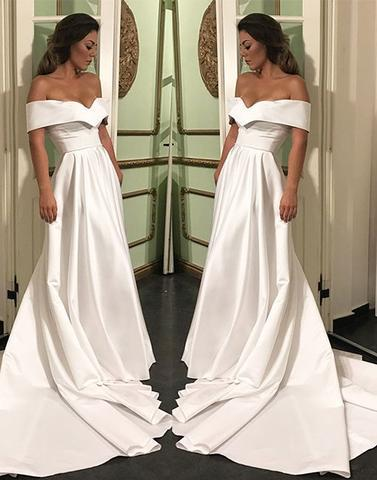 elegant off shoulder white satin long formal prom dress with train, PD5226