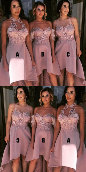 blush pink bridesmaid dress high low prom dress applique homecoming dress,HS100