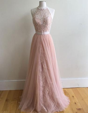 beaded halter dusty pink A line tulle lace long prom dress, PD9980