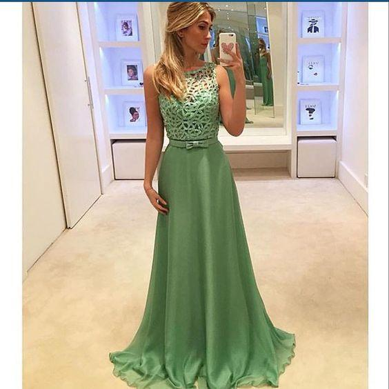 elegant green long cheap formal prom dress for girls, PD3020