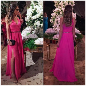 hot pink chiffon side slit v-neck long prom dress, PD8625