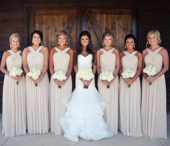 simple chiffon long cheap Bridesmaid Dresses, PD32