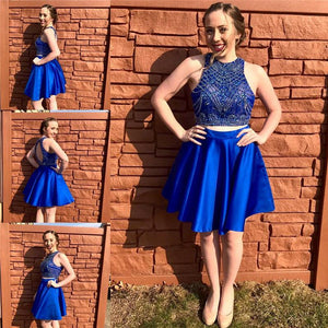 royal blue two pieces beaded junior short homecoming dress, BD3802