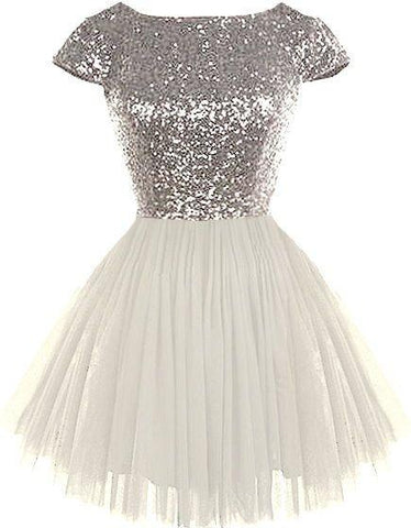 sequin short sleeves A-line cute short junior 2017 cheap sparkle homecoming dress, BD3891