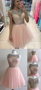 light pink tulle A-line beaded charming 2017 short homecoming dress, BD3806